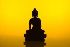 Siluetta di Buddha Immagine Stock