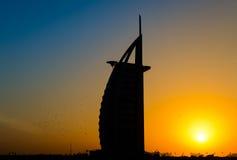 Siluetta di Burj Al Arab Fotografie Stock Libere da Diritti
