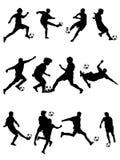 Siluetta di calcio Fotografie Stock Libere da Diritti