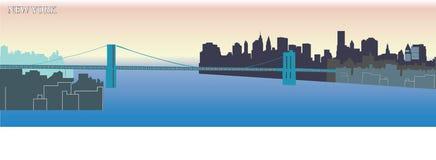 Siluetta di città di New-York - vettore - - colore vivo - costruzioni evolutive - manifesto Immagine Stock