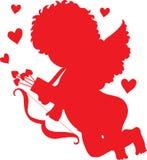 Siluetta di colore rosso del Cupid Fotografia Stock