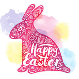 Siluetta di coniglio rosa con una congratulazione per Pasqua felice su un fondo dell'acquerello Illustrazione di vettore, progett Immagine Stock
