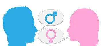 Siluetta di conversazione della donna e dell'uomo illustrazione vettoriale