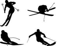 Siluetta di corsa con gli sci Immagini Stock