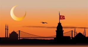 Siluetta di Costantinopoli al tramonto Fotografie Stock Libere da Diritti