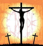 Siluetta di Cristo sull'incrocio Immagine Stock Libera da Diritti