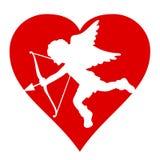 Siluetta di Cupido del biglietto di S. Valentino Fotografia Stock Libera da Diritti