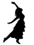 Siluetta di Dancing Fotografie Stock Libere da Diritti