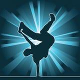 Siluetta di Dancing, breakdance Immagine Stock Libera da Diritti