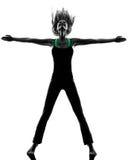Siluetta di dancing del ballerino della donna Immagini Stock