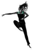 Siluetta di dancing del ballerino della donna Fotografie Stock