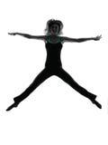 Siluetta di dancing del ballerino della donna Fotografia Stock Libera da Diritti
