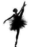 Siluetta di dancing del ballerino di balletto della ballerina della giovane donna Immagini Stock Libere da Diritti