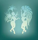 Siluetta di dancing della regina della samba Fotografia Stock Libera da Diritti