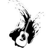 Siluetta di disegno della spruzzata di Grunge della chitarra acustica Fotografia Stock