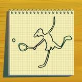 Siluetta di doodle del giocatore di tennis. Immagine Stock Libera da Diritti