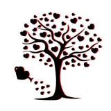 Siluetta di ebano con le foglie ed i cuori con ombra rossa Albero di amore Cartolina d'auguri per il giorno del `s del biglietto  fotografia stock libera da diritti