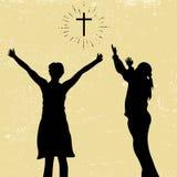 Siluetta di elogio e di culto a Dio illustrazione vettoriale