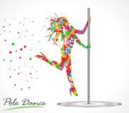 Siluetta di giovane bella donna che balla una striptease, ballo del palo illustrazione di stock