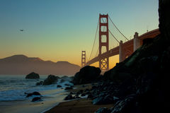 Siluetta di golden gate bridge Fotografia Stock
