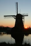 Siluetta di Kinderdijk fotografia stock libera da diritti