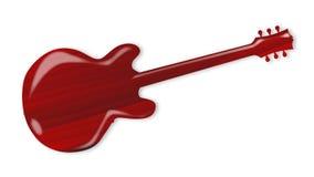 Siluetta di legno rossa della chitarra Fotografia Stock
