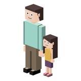 siluetta di lego con il padre e la figlia illustrazione di stock