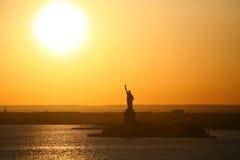 Siluetta di Liberty Statue Fotografia Stock