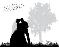 Siluetta di nozze Fotografia Stock