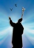Siluetta di papa Immagine Stock Libera da Diritti