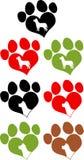 Siluetta di Paw Prins With Dog Head di amore Insieme dell'accumulazione Fotografia Stock