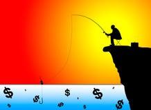 Siluetta di pesca dell'uomo d'affari per i soldi illustrazione di stock