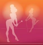 Siluetta di pin-up della ragazza del cabaret Immagine Stock
