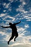 siluetta di salto fotografia stock libera da diritti