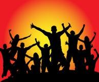 Siluetta di salto di anni dell'adolescenza Immagini Stock Libere da Diritti