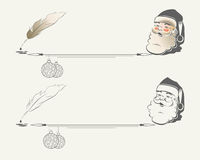 Siluetta di Santa Claus con le palle di Natale illustrazione di stock