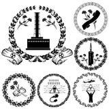 Siluetta di simbolo dell'etichetta di Cernobyl Fotografia Stock