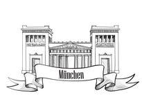 Siluetta di simbolo della città di Monaco di Baviera. Raccolta dell'etichetta di paesaggio urbano. Fotografia Stock