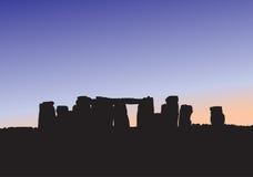 Siluetta di Stonehenge Fotografie Stock Libere da Diritti