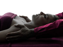Siluetta di terapia di massaggio della spalla Fotografia Stock