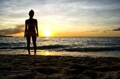 Siluetta di tramonto dal mare Fotografia Stock Libera da Diritti