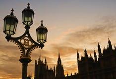 Siluetta di tramonto dell'orizzonte di Westminstrer Immagini Stock