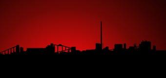 Siluetta di tramonto di alba di industria estrattiva Fotografie Stock