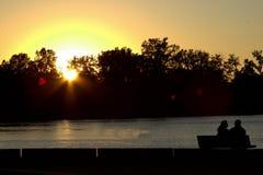 Siluetta di tramonto, Perry Monument U.S.A. Fotografia Stock Libera da Diritti