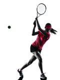 Siluetta di tristezza del tennis della donna Immagini Stock