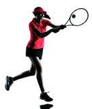 Siluetta di tristezza del tennis della donna Fotografia Stock