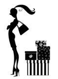 Siluetta di un acquisto della donna di Chic Young Immagini Stock