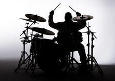 Siluetta di un batterista Immagine Stock