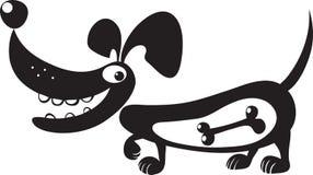 Siluetta di un cane con un osso in suo stomaco Fotografia Stock