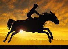 Siluetta di un cavaliere su un cavallo corrente Immagine Stock Libera da Diritti